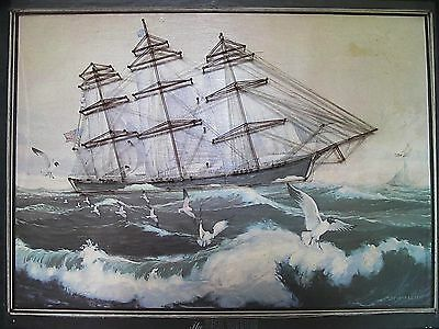 """Vintage String Art Wall Decor Ship """"Sea Witch""""  Nautical Lithograph HEAVY"""