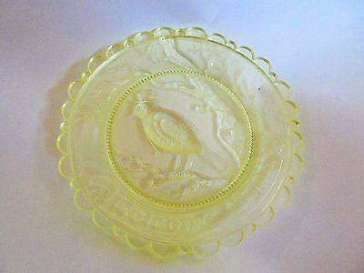 Vintage Pairpoint Cup Plate Uranium Glass Welcome Robin Yellow