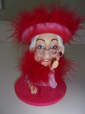Red Hat Society Bust Lady Figurine Red Feathers