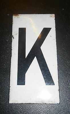 Antique Enamel on Copper Letter  K Sign 1920s 3.75 inch
