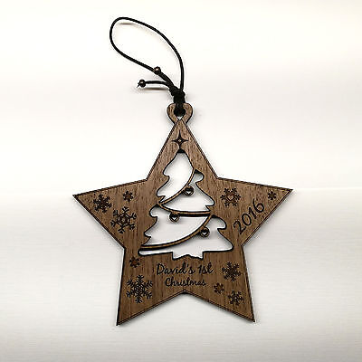 Baby's 1st Christmas - Wooden Star Plaque Personalised Tree Decoration Bauble