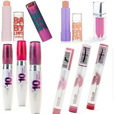 Maybelline Lip Color, Balm, Gloss and Stain Mix - Pack of 10 different shades