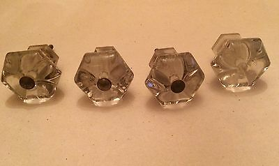"Antique Clear Glass Knobs Drawer Pulls Large 1-3/4"" Set of 4 Hexagon Vintage"