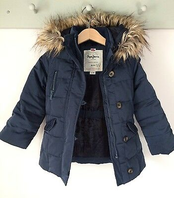 pepe jeans childrens kids winter puffa parka jacket coat