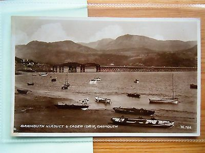 Cader Idris & Railway Viaduct, BARMOUTH, Merionethshire-WALES POSTCARD