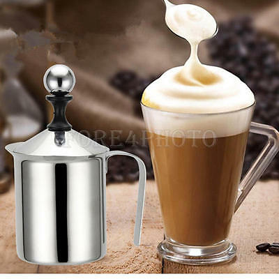 Newly 400ml Stainless Steel Milk Frothers Cappuccino Coffee Frother Double Mesh