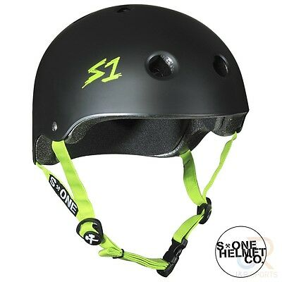 S1 Lifer Helmets - Black Matt inc Green Strap