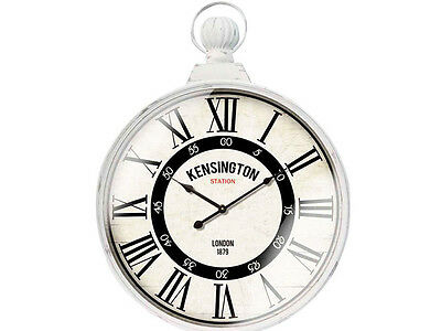 XL Shabby Chic Round Kensington Station w/Handle Wall Clock NEW Clocks