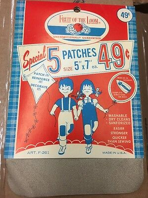 Vintage Fruit of the loom fabric iron on repair patch washable sewing