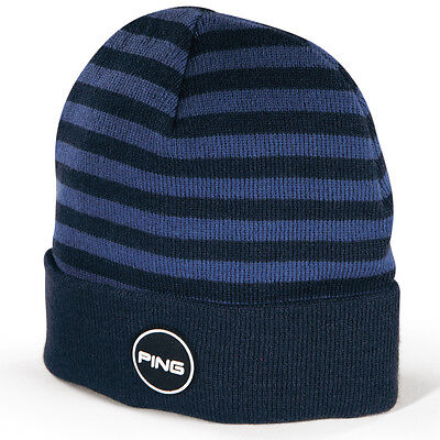 New 2017 Ping Golf Patch Knit Beanie/Toboggan COLOR: Navy/Sea Blue