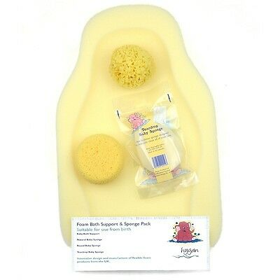 Foam Bath Baby Support and Sponge Set Support/Tear Drop/Natural/Buff Sponges