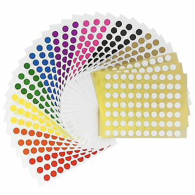 2,100 Sticky Coloured 8mm Labels Dots Self Adhesive Circles - by Colour or Asst