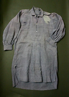 VTG French 1900 smock shirt linen indigo biaude workwear medium hobo maquignon