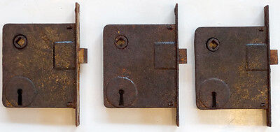 Lot of 3 ANTIQUE Vintage 1800's VICTORIAN Salvage MORTISE Skeleton Key DOOR LOCK