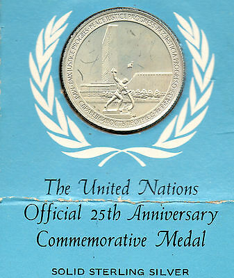 The United Nations official 25th Anniversary Commemorative Medal silver 1970