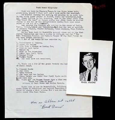 1960 Vintage BUCK OWENS Press Bio & Publicity Photo / COUNTRY MUSIC Bakersfield