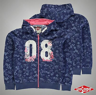Junior Girls Designer Lee Cooper Everyday Textured AOP Zip Hoody Size Age 7-13