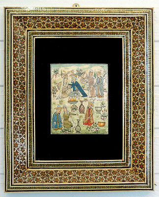 Vintage PERSIAN Khatam MARQUETRY WOOD Inlaid Frame SIGNED PAINTING