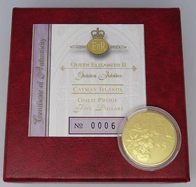 2002 Cayman Islands Gold PROOF Five Dollars $50 Golden Jubilee Coin Boxed/Coa