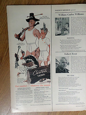 1952 Carter's Trigs Underwear Ad Father Son Turkey Hunting Theme