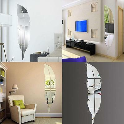 Hot Mirror Feather Wall Vinyl Decals Stickers DIY Art Mural Removable