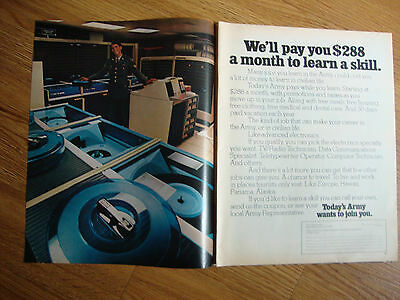 1972 U. S. Army Recruiting Ad We'll Pay you $288 a Month to Learn a Skill