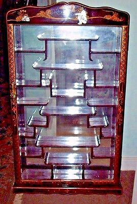 Antique Asian ROSEWOOD Inlaid MOP Glass Front Wall Curio Display Cabinet Rare