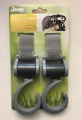 Jeep Universal Stroller Hook 2-pk 360 Swiveling Hooks, Installs in Seconds, Gray