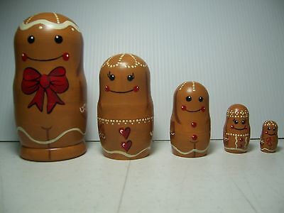 Hand painted Gingerbread People stacking nesting doll set