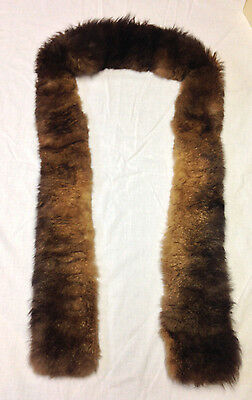 """Vintage Real Fur Scarf Stole Collar Multi Brown Shades 70"""""""