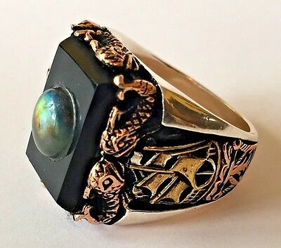 1900s 20s 30s 40s 50s Sea Sailor Ring Real Onyx/ Opal stone Tattoo Vintage