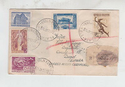 1949 Reg.cover with five stamps to spain   f2035