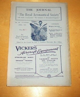 RAeS JOURNAL APRIL 1929 AIR COOLED ENGINES IN SERVICE FEDDEN. AIRCRAFT WEIGHT