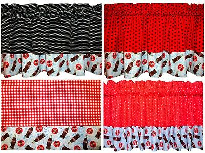 """New LINED red VALANCE black DOTS blue bubbles Coca Cola bottle sign  ~40"""", 60"""""""