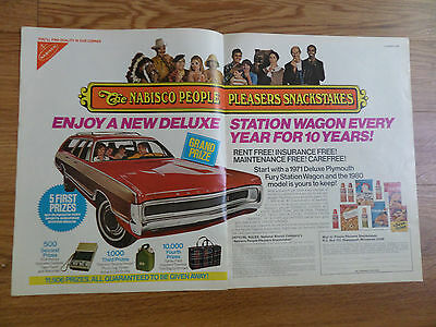 1970 Nabisco Snackstakes Ad   1971 Deluxe Plymouth Fury Station Wagon