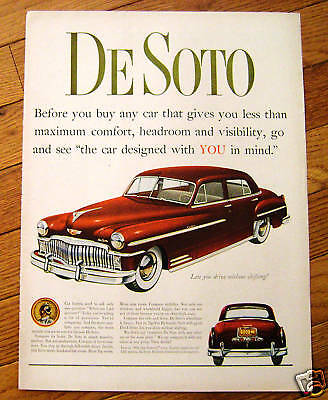 1949 DeSoto De Soto Ad  Drive without Shifting