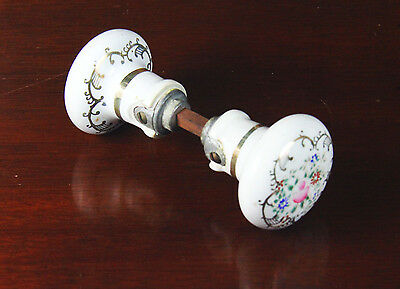 REDUCED ~ Vintage Floral White Porcelain, Hand Painted Door Knob  ~~ Excellent