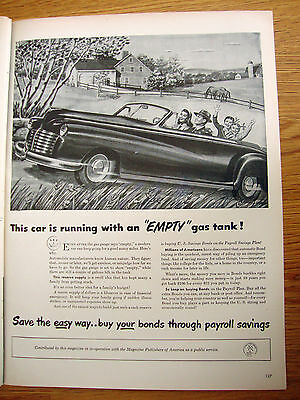 1947 Bonds Payroll Savings Ad Convertible Auto  Ford Chevy Plymouth ?