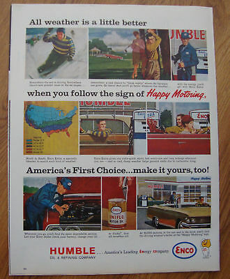 1963 Humble Enco Oil Ad  Skiing Golfing
