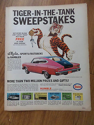 1965 Humble Oil Gas Ad Tiger-in-the-Tank Sweepstakes  Marlin Sports Fastback