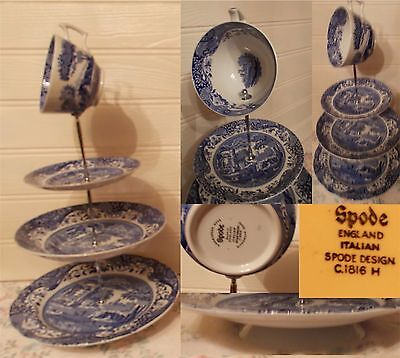 3 Tier Pastry Cake Plate Stand Display Spode's Blue Italian