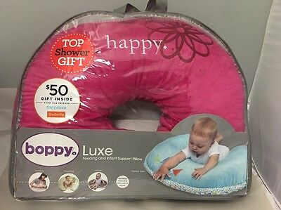 """Boppy Luxe Feeding And Infant Support Pillow, """"happy"""" Pink"""