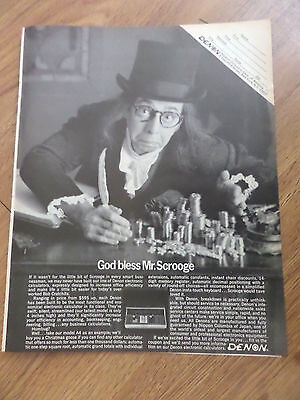 1969 Denon Electronic Calculator Ad  God Bless Mr. Scrooge