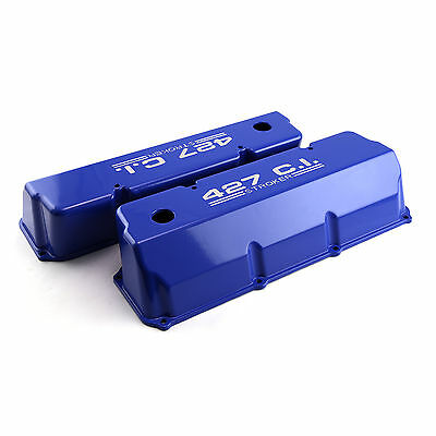 "Ford 302 351C Cleveland ""427"" Blue Aluminum Valve Covers - Tall w/ Hole"