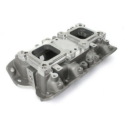 Ford 302 351C Cleveland 3V 4V w/Tongues Open Intake Manifold w/Dual Carb Adapter