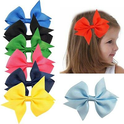 "40 Pcs Baby Girls Kids 4"" Grosgrain Ribbon Boutique Hair Bows Alligator Clips"