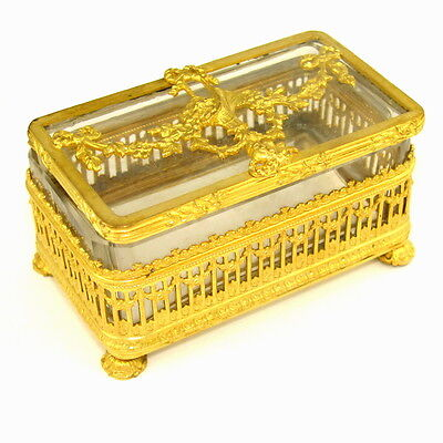 Ornate Antique French Empire Style Gilt Ormolu Filigree Cut Crystal Trinket Box