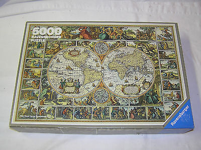 Vintage 1990 Ravensburger 5000 Piece Puzzle Historical Map of the World Germany