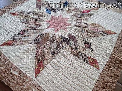 """EARLY c1840-1860 Cutter STAR QUILT Piece Great Study Fabrics 28"""""""
