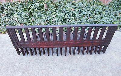 "Antique Cast Iron Fireplace Hang-In Grate Marked Ideal 20"" Wide Decorative Front"